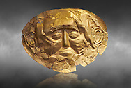 Mycenaean gold death mask, Grave Cicle A, Mycenae, Greece. National Archaeological Museum of Athens.  Grey Art Background<br /> <br />  This death mask is typical of the other Mycenaean gold death masks fround in Grave V. made from a sigle sheet of gold the shape of the face would have been hammered ot against wood. two holes either side of the gold mask allowed it to be held over the dead mans face. As weapons were found in the graves of Grave Circle A at Mycenae, those buried here wer warriors and maybe kings as the grave goods buried with them were of great value. 16th century BC .<br /> <br /> If you prefer to buy from our ALAMY PHOTO LIBRARY  Collection visit : https://www.alamy.com/portfolio/paul-williams-funkystock/mycenaean-art-artefacts.html . Type -   Athens    - into the LOWER SEARCH WITHIN GALLERY box. Refine search by adding background colour, place, museum etc<br /> <br /> Visit our MYCENAEN ART PHOTO COLLECTIONS for more photos to download  as wall art prints https://funkystock.photoshelter.com/gallery-collection/Pictures-Images-of-Ancient-Mycenaean-Art-Artefacts-Archaeology-Sites/C0000xRC5WLQcbhQ