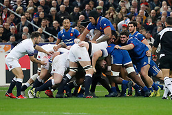 Furious maul during Rugby Natwest 6 Nations Tournament, France vs England in Stade de France, St-Denis, France, on March 10th, 2018. France won 22-16. Photo by Henri Szwarc/ABACAPRESS.COM