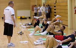 Head coach Bozidar Maljkovic talks to Goran Jagodnik and Uros Slokar during practice session of Slovenian National Basketball team during training camp for Eurobasket Lithuania 2011, on July 12, 2011, in Arena Vitranc, Kranjska Gora, Slovenia. (Photo by Vid Ponikvar / Sportida)