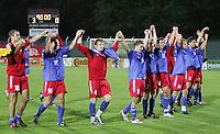 Die Liechtensteiner Mannschaft jubelt nach dem 3:0 Sieg gegen Luxembourg. © Peter Klaunzer/EQ Images