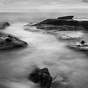 Wave Channel Incoming Tide - Aliso Creek Beach - Dusk - Black & White
