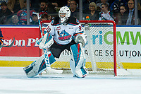 KELOWNA, BC - DECEMBER 27:  Roman Basran #30 of the Kelowna Rockets defends the net during first period against the Kamloops Blazers at Prospera Place on December 27, 2019 in Kelowna, Canada. (Photo by Marissa Baecker/Shoot the Breeze)