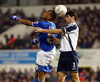 Photo: Chris Ratcliffe.<br />Ipswich Town v Portsmouth. The FA Cup. 07/01/2006.<br />Danny Haynes (L) of Ipswich tussles with Dejan Stefanovic of Pompey.