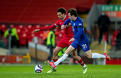 LIVERPOOL, ENGLAND - Thursday, March 4, 2021: Liverpool's Trent Alexander-Arnold (L) and Chelsea's Ben Chilwell during the FA Premier League match between Liverpool FC and Chelsea FC at Anfield. Chelsea won 1-0 condemning Liverpool to their fifth consecutive home defeat for the first time in the club's history. (Pic by David Rawcliffe/Propaganda)