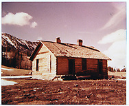3/4 southwest corner (rear & west side) of abandoned RGS section house at Lizard Head.<br /> RGS  Lizard Head, CO  ca. ? + 1953
