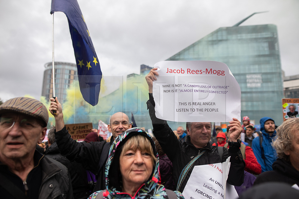 © Licensed to London News Pictures. 31/08/2019. Manchester, UK. Jacob Rees-Mogg mine is not a candyfloss of outrange nor is it almost entirely confected sign . Thousands attend a pro EU demo in Cathedral Gardens in Manchester City Centre , with objections raised to the Prime Minister Boris Johnson's intention to prorogue Parliament in the run up to Britain's planned Brexit deadline . Photo credit: Joel Goodman/LNP