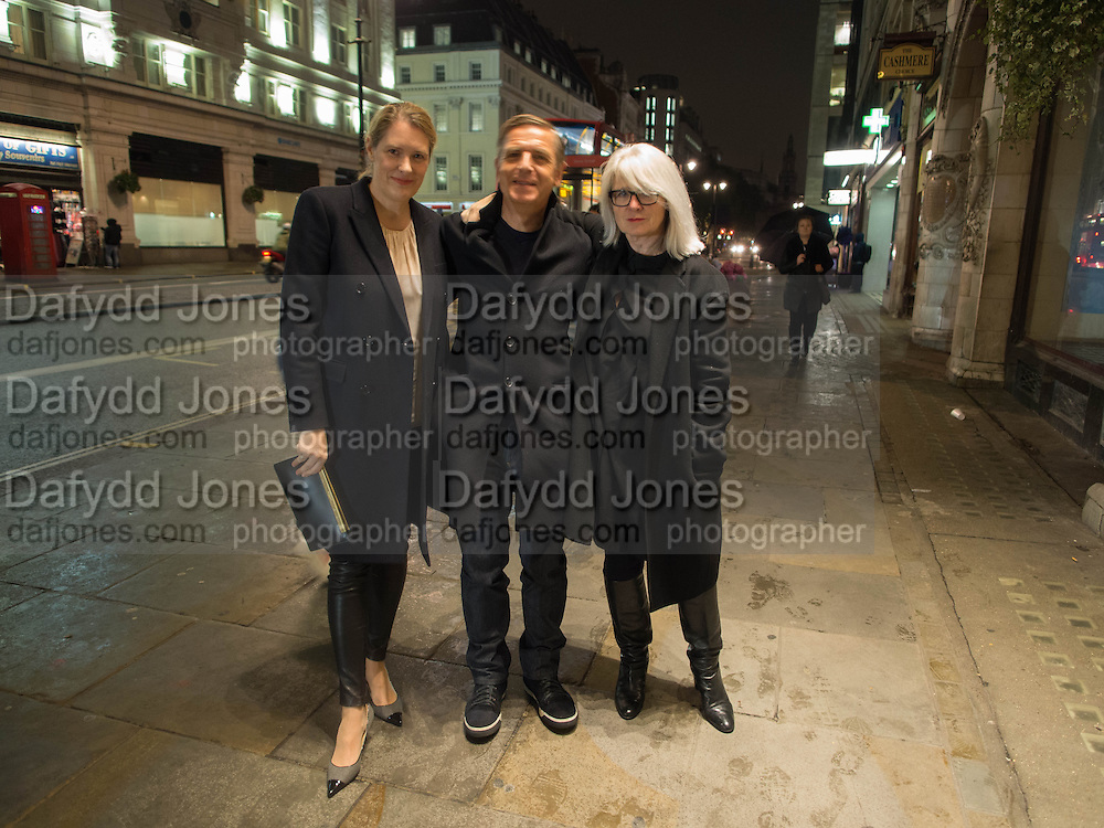 PHILOMENE MAGERS; ANDREAS GURSKY; MONIKA SPRUTH, Opening of Morris Lewis: Cyprien Gaillard. From Wings to Fins, Sprüth Magers London Grafton St. London. Afterwards dinner at Simpson's-in-the-Strand hosted by Monika Spruth and Philomene Magers.