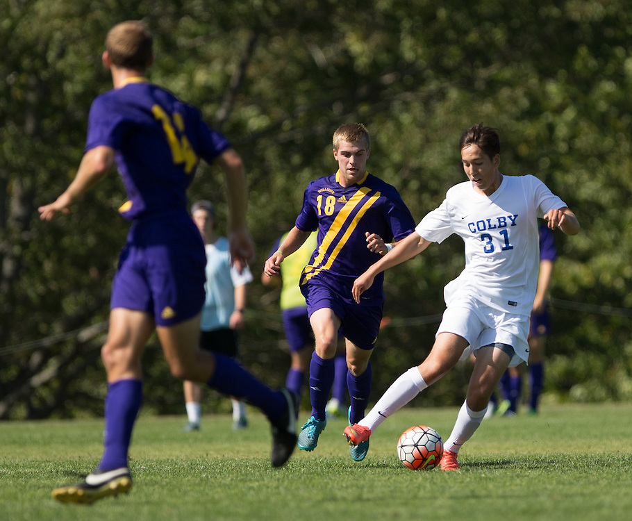 Lucas Pereira of Colby College during a NCAA Division III soccer game against Williams College on September 19, 2015 in Waterville, ME. (Dustin Satloff/Colby College Athletics)