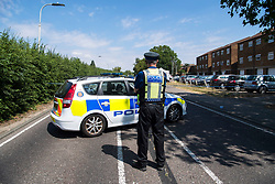© Licensed to London News Pictures. 08/07/2018. Pisea, UK. Police at the scene where a man in his 20's was fatally stabbed at Little Garth, Pitsea. Despite best efforts at the scene by paramedics the man died shortly after at Basildon Hospital. Police believe this was a targeted attack. Photo credit : Simon Ford/LNP