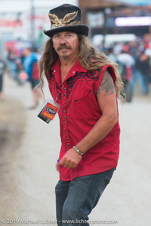"Bean're, the ""Mayor of Fun"" just before the Florida Georgia Line and ZZ Top concert on the main stage of the Sturgis Buffalo Chip during the annual Black Hills Motorcycle Rally. SD, USA. August 6, 2014.  Photography ©2014 Michael Lichter."