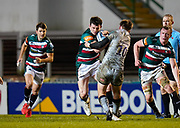 Sale Sharks fly-half AJ McGinty tackles Leicester Tigers centre Matt Scott during a Gallagher Premiership Round 7 Rugby Union match, Friday, Jan. 29, 2021, in Leicester, United Kingdom. (Steve Flynn/Image of Sport)