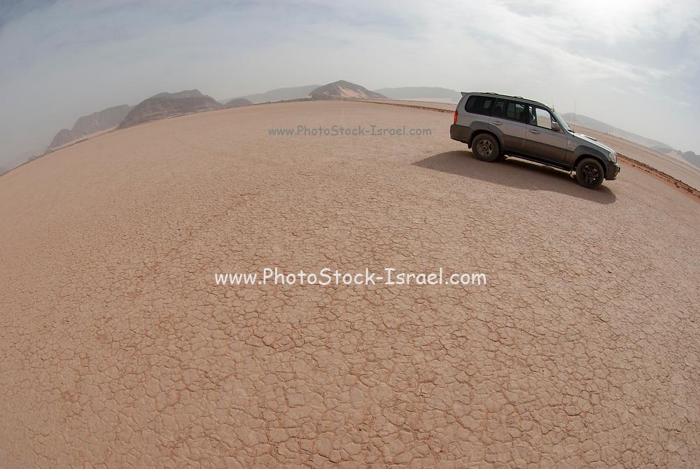 Tourist vehicle on a desert tour in Jordan, Wadi Rum