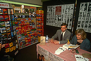 Former Beirut hostage John McCarthy and his former partner Jill Morrell sign copies of their book Some Other Rainbow in the summer of 1993, London England.
