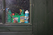 Detasill of a green, wooden garden sheds domestic chemicals lined-up on the sill inside.