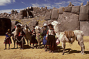 PERU, HIGHLANDS, CUZCO, INCA Sacsayhuaman fortress, woman with llamas
