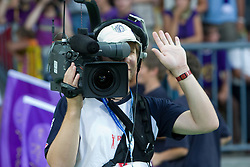 Cameraman at Third Round of Champions League qualifications football match between NK Maribor and FC Zurich,  on August 05, 2009, in Ljudski vrt , Maribor, Slovenia. Zurich won 3:0 and qualified to next Round. (Photo by Vid Ponikvar / Sportida)