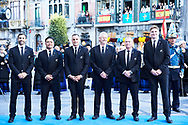 Steve Tew, Grant Fox, Keven Mealamu, Conrad Smith, Israel Dagg, Jordie Barrett from All Blacks arrived to the Campoamor Theater for the Princess of Asturias Award 2017 ceremony on October 20, 2017 in Oviedo, Spain
