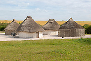 Reconstruction of neolithic homes thatched round houses huts, Stonehenge, Wiltshire, England, UK