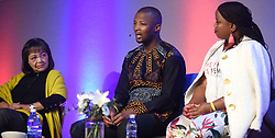 Cape Town-180815 Nqabayomzi Kwankwa answering a question from the host of the Daily Maverick media  gathering Lindiwe Mazibuko who was asking them about different topics .photograph:Phando Jikelo/African News Agency/ANA