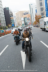 """""""Sushi"""" Atsushi Yasui with frirends on a ride around Tokyo with friends of the Freewheelers And Company shop, Japan. December 8, 2015.  Photography ©2015 Michael Lichter."""