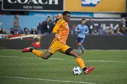 April 29, 2018 - Bronx, New York, United States - New York City goalkeeper SEAN JOHNSON (1) during a regular season match at Yankee Stadium in Bronx, NY.  NYCFC defeats FC Dallas 3 to 1. (Credit Image: © Mark Smith via ZUMA Wire)