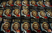 Copies of former British Prime Minister, Margaret Thatchers memoirs, ready for sale in a Costco warehouse around June 1993 in London England. The Downing Street Years covered Thatchers premiership from 1979 to 1990 before she was deposed after a leadership challenge. The book was accompanied by a four-part BBC television series of the same name.