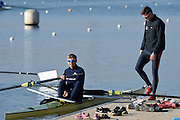 Caversham  Great Britain.<br /> left Pete REED and Constantine LOULOUDIS prepare to boat,<br /> 2016 GBR Rowing Team Olympic Trials GBR Rowing Training Centre, Nr Reading  England.<br /> <br /> Tuesday  22/03/2016 <br /> <br /> [Mandatory Credit; Peter Spurrier/Intersport-images]
