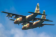 Two Israeli Air force (IAF) Hercules C-130 (Karnaf) transport plane in flight