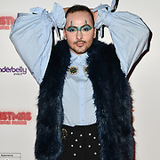 Kalon Rae of The Voice 2018 attends Briefs: Close Encounters - press night an All-male 'Boylesque' group show off their circus skills, drag acts and raucous comedy routines at The Spiegeltent Leicester Square on 14 November 2018, London, UK.