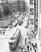 Y-480722-04. Portland SW Morrison & 5th looking west. Trolley 435 &563 Mt Tabor. July 22, 1948