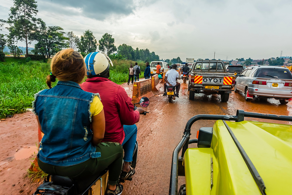 Traffic on the road between Entebbe and Kampala, Uganda.