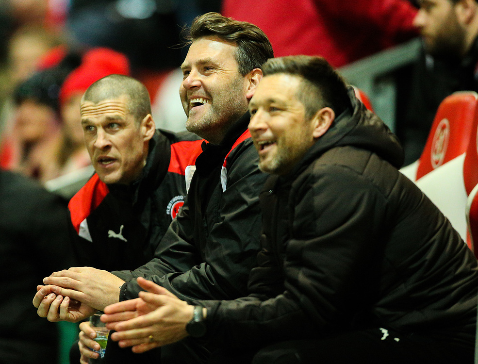Fleetwood Town's Barry Nicholson and David Lucas share a joke before kick off<br /> <br /> Photographer Alex Dodd/CameraSport<br /> <br /> The EFL Sky Bet League One - Fleetwood Town v Portsmouth - Tuesday 20th February 2018 - Highbury Stadium - Fleetwood<br /> <br /> World Copyright © 2018 CameraSport. All rights reserved. 43 Linden Ave. Countesthorpe. Leicester. England. LE8 5PG - Tel: +44 (0) 116 277 4147 - admin@camerasport.com - www.camerasport.com