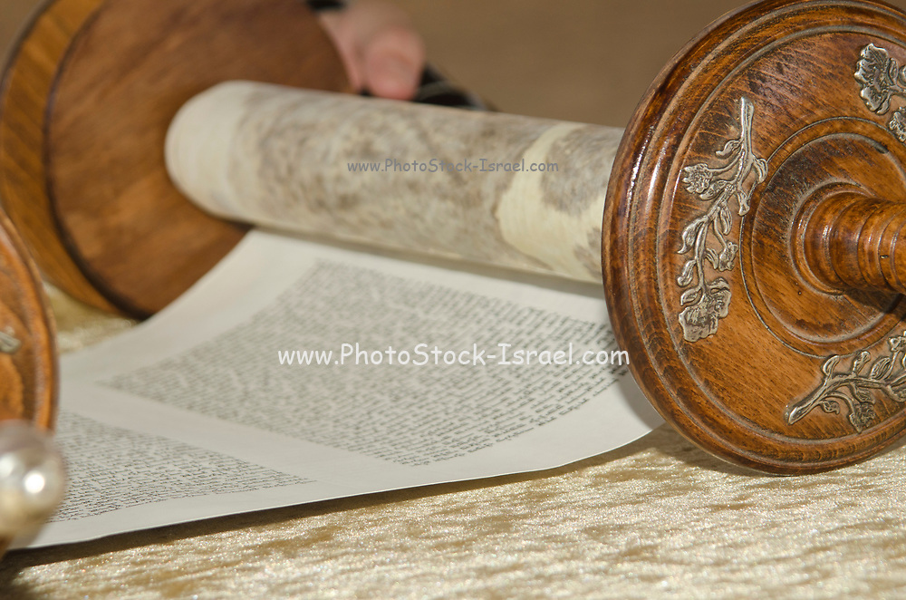 Bar Mitzvah ceremony. Bar Mitzvah boy reads from the Torah scrolls