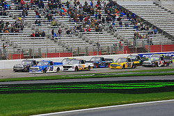 February 23, 2019 - Hampton, GA, U.S. - HAMPTON, GA - FEBRUARY 23:   #16: Austin Hill, Hattori Racing Enterprises, Toyota Tundra United Rental leads the field to the green flag to start the 11th running of the Ultimate Tailgating 200 NASCAR Gander Outdoors Truck Series race on February 23, 2019 at the Atlanta Motor Speedway in Hampton, GA.  (Photo by David J. Griffin/Icon Sportswire) (Credit Image: © David J. Griffin/Icon SMI via ZUMA Press)