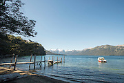 Boat next to wooden jetty, Lago Hermoso, Neuqu?n Region, Argentina, South America