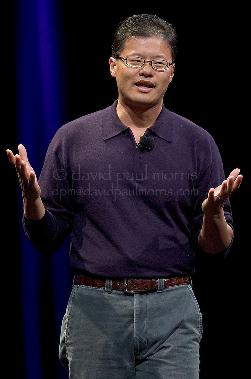 SAN FRANCISCO, CA - JANUARY 9: Yahoo co-founder Jerry Yang speaks during the keynote speech at Macworld on January 9, 2007 in San Francisco, California. During the keynote Apple CEO Steve Jobs introduced the new iPhone which will combine a mobile phone, a widescreen iPod with touch controls and a internet communications device with the ability to use email, web browsing, maps and searching. The iPhone will start shipping in the US in June 2007. (Photograph by David Paul Morris)