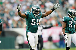 Philadelphia Eagles defensive end Trent Cole #58 reacts after a play during the NFL game between the New York Giants and the Philadelphia Eagles on November 1st 2009. The Eagles won 40 to 17 at Lincoln Financial Field in Philadelphia, Pennsylvania. (Photo By Brian Garfinkel)