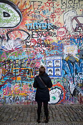 Lennon Wall graffiti in Mala Strana in Prague in Czech Republic
