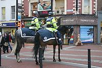 Gardai on horses, Grafton Street, Dublin, Ireland