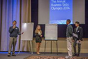 Purchase, NY – 31 October 2014. The team from Ossining High School giving their presentation. (Left to right: Kiran Narsipur, Adriana Sallucci,  Senai Motley, Sami Rajput.) The Business Skills Olympics was founded by the African American Men of Westchester, is sponsored and facilitated by Morgan Stanley, and is open to high school teams in Westchester County.