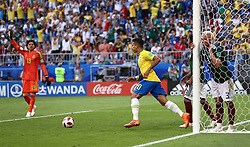 Brazil's Roberto Firmino (centre) celebrates scoring his side's second goal of the game