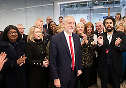 © Licensed to London News Pictures. 29/10/2019. London, UK. Labour Party Leader Jeremy Corbyn is applauded by the shadow cabinet as he speaks at party headquarters after announcing that he will support an early general election. The government are expected to call for another vote on a general election in Parliament later today. Photo credit: Peter Macdiarmid/LNP