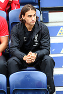 New Liverpool signing Lazar Markovic looks on from the bench. pre-season friendly match, Preston North End v Liverpool at Deepdale in Preston, England on Saturday 19th July 2014.<br /> pic by Chris Stading, Andrew Orchard sports photography.