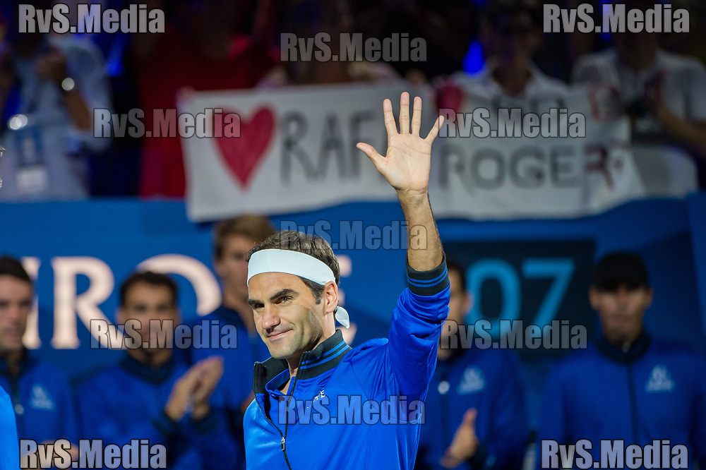 GENEVA, SWITZERLAND - SEPTEMBER 22: Roger Federer of Team Europe enters the Centre Court during Day 3 of the Laver Cup 2019 at Palexpo on September 20, 2019 in Geneva, Switzerland. The Laver Cup will see six players from the rest of the World competing against their counterparts from Europe. Team World is captained by John McEnroe and Team Europe is captained by Bjorn Borg. The tournament runs from September 20-22. (Photo by Robert Hradil/RvS.Media)