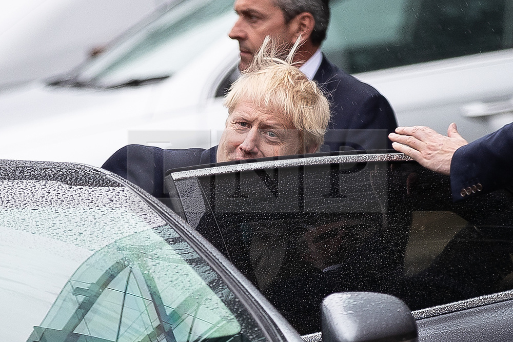 © Licensed to London News Pictures. 27/07/2019. Manchester, UK. British Prime Minister BORIS JOHNSON leaves the Science and Industry Museum after a speech in Manchester City Centre . Johnson was due to re-announce the HS3 rail link between Manchester and Leeds . Photo credit: Joel Goodman/LNP