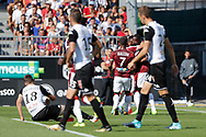 Younousse SANKHARE (Girondins de Bordeaux) scored a goal and celebrated it with Francois KAMANO (Girondins de Bordeaux), Malcom SILVA DE OLIVEIRA (Girondins de Bordeaux), Baptiste SANTAMARIA (SCO Angers), Pierrick CAPELLE (SCO Angers), Romain THOMAS (SCO Angers) during the French championship L1 football match between SCO Angers and Bordeaux on August 6th, 2017 at Raymond-Kopa stadium, France - PHOTO Stéphane Allaman / ProSportsImages / DPPI