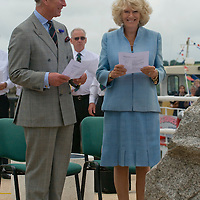 """Falmouth , Cornwall July 11th TRH The Duke and Duchess of Cornwall  alight from """"The Duchess of Cornwall"""" ferry on the Duke of Cornwall Pier and attend a rededication service for the relocated St Nazaire Raid Memorial and meet families and veterans"""