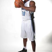 Orlando Magic forward Kadeem Batts poses for the camera during the NBA Orlando Magic media day event at the Amway Center on Monday, September 29, 2014 in Orlando, Florida. (AP Photo/Alex Menendez)