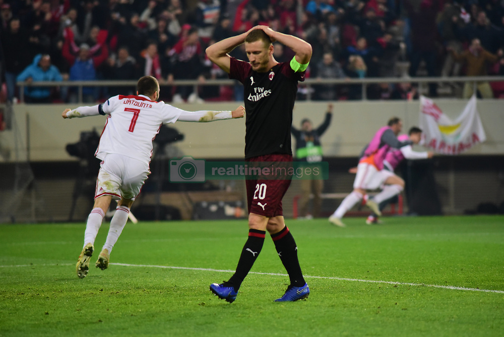 December 13, 2018 - Piraeus, Attiki, Greece - Different contrast of emotions after the second goal of Olympiacos against Milan. (Credit Image: © Dimitrios Karvountzis/Pacific Press via ZUMA Wire)