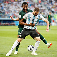 Argentina forwarder Gonzalo Higuain (R) and Nigeria midfielder John Obi Mikel (L) during the 2018 FIFA World Cup Russia, Group D football match between Nigeria and Argentina on June 26, 2018 at Saint Petersburg Stadium in Saint Petersburg, Russia - Photo Stanley Gontha / Pro Shots / ProSportsImages / DPPI
